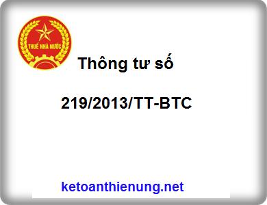 Thông tư 219/2013/TT-BTC hướng dẫn thi hành luật thuế GTGT