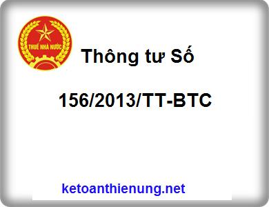 Thông tư Số 156/2013/TT-BTC hướng dẫn thi hành luật quản lý Thuế