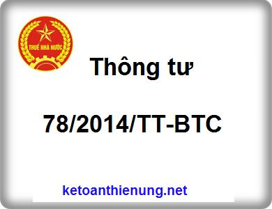Thông tư 78/2014/TT-BTC hướng dẫn thi hành luật thuế TNDN