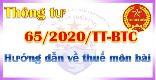 Thông tư 65/2020/TT-BTC quy định về thuế môn bài
