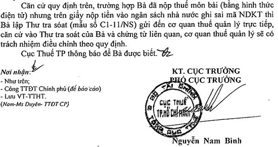 Thư tra soát C1-11/NS theo Thông tư 84