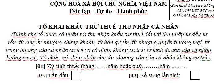 Mẫu tờ khai khấu trừ thuế thu nhập cá nhân Mẫu số 03/KK-TNCN