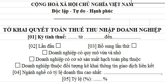 Mẫu Tờ khai quyết toán thuế thu nhập doanh nghiệp Mẫu số 03/TNDN
