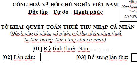 Mẫu tờ khai quyết toán thuế TNCN Mẫu 05/QTT-TNCN theo TT 92