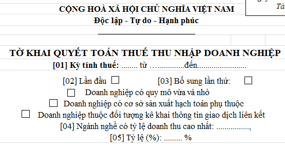 Mẫu Tờ khai quyết toán thuế thu nhập doanh nghiệp Mẫu 03/TNDN theo TT 151