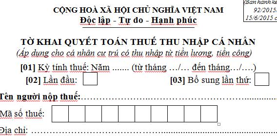 Tờ khai quyết toán thuế thu nhập cá nhân Mẫu 02/QTT-TNCN