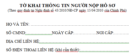 Mẫu tờ khai thông tin người nộp hồ sơ để giải thể DNTN