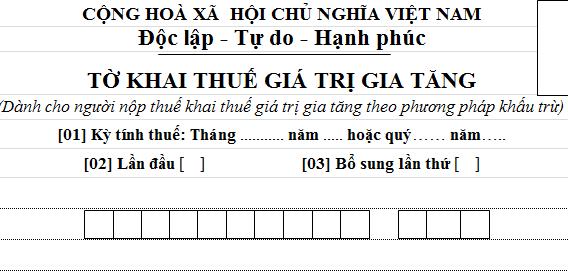 TỜ KHAI THUẾ GIÁ TRỊ GIA TĂNG mẫu 01/GTGT theo Thông tư 119