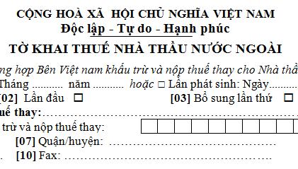 Tờ khai thuế nhà thầu nước ngoài mẫu 01/NTNN